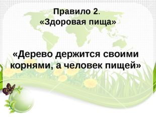 Правило 2. «Здоровая пища» «Дерево держится своими корнями, а человек пищей»