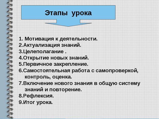 Мотивация к деятельности. 2.Актуализация знаний. 3.Целеполагание . 4.Открытие...
