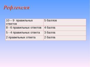 10 – 9 правильных ответов5 баллов 8 - 6 правильных ответов4 балла 5 - 4 пра