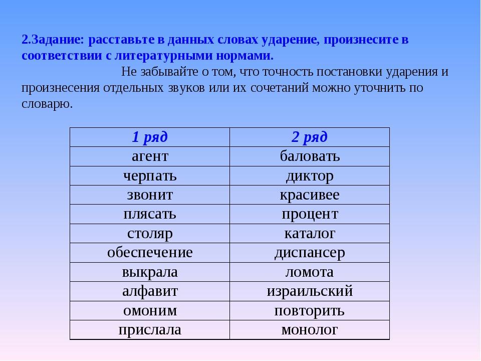 2.Задание: расставьте в данных словах ударение, произнесите в соответствии с...