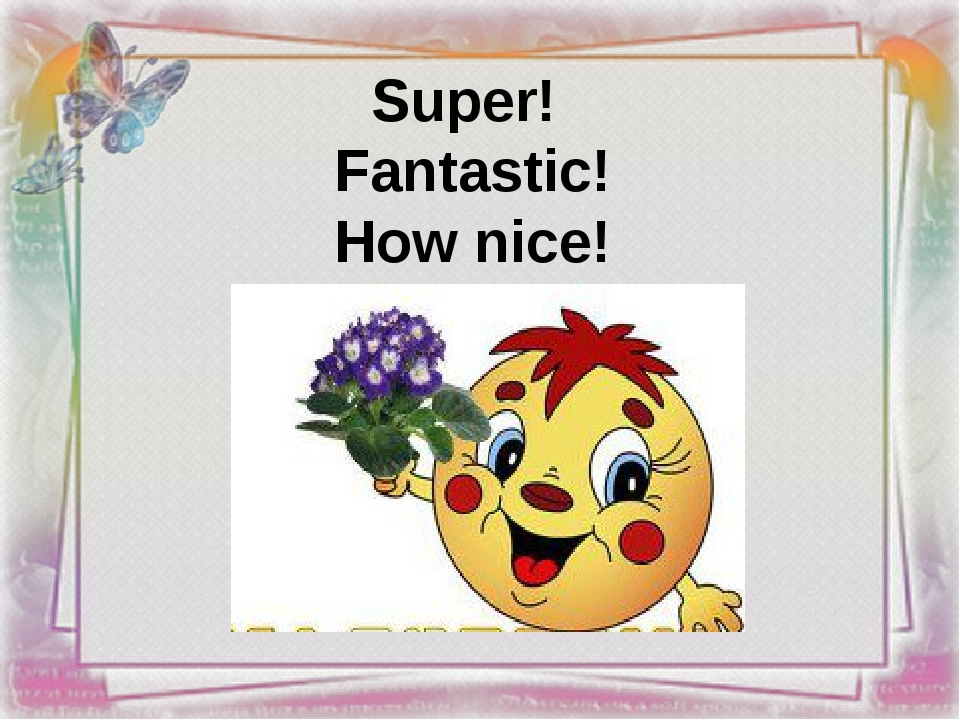 Super! Fantastic! How nice!