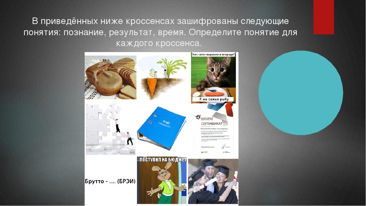 В приведённых ниже кроссенсах зашифрованы следующие понятия: познание, резуль...