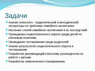 Задачи Анализ психолого - педагогической и методической литературы по проблем