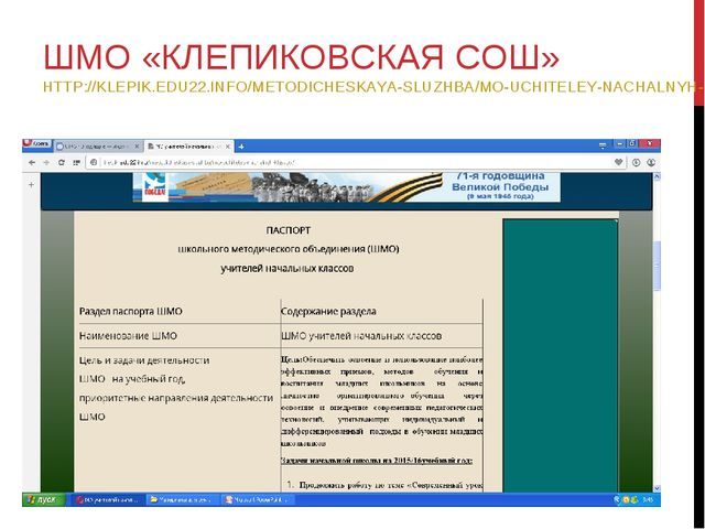 ШМО «КЛЕПИКОВСКАЯ СОШ» HTTP://KLEPIK.EDU22.INFO/METODICHESKAYA-SLUZHBA/MO-UCH...