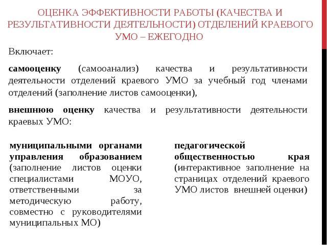 ОЦЕНКА ЭФФЕКТИВНОСТИ РАБОТЫ (КАЧЕСТВА И РЕЗУЛЬТАТИВНОСТИ ДЕЯТЕЛЬНОСТИ) ОТДЕЛЕ...