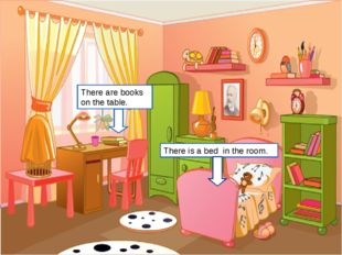 There is a bed in the room. There are books on the table. http://www.mifasol