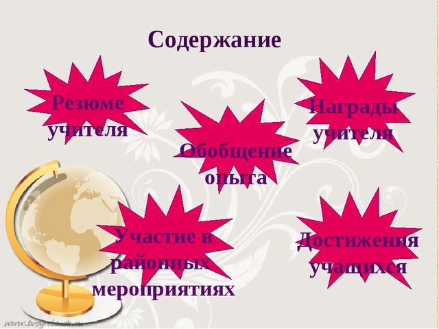 Содержание Резюме учителя Участие в районных мероприятиях Награды учителя Дос...
