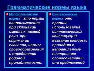 Грамматические нормы языка Морфологические нормы – это нормы словоизменения п