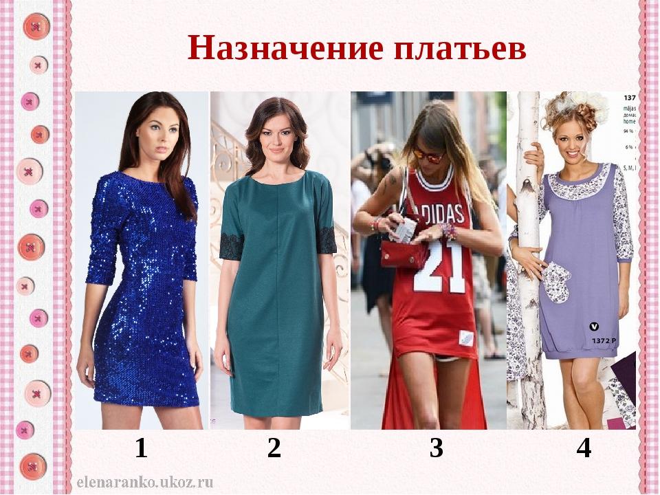 Назначение платьев 1 2 3 4