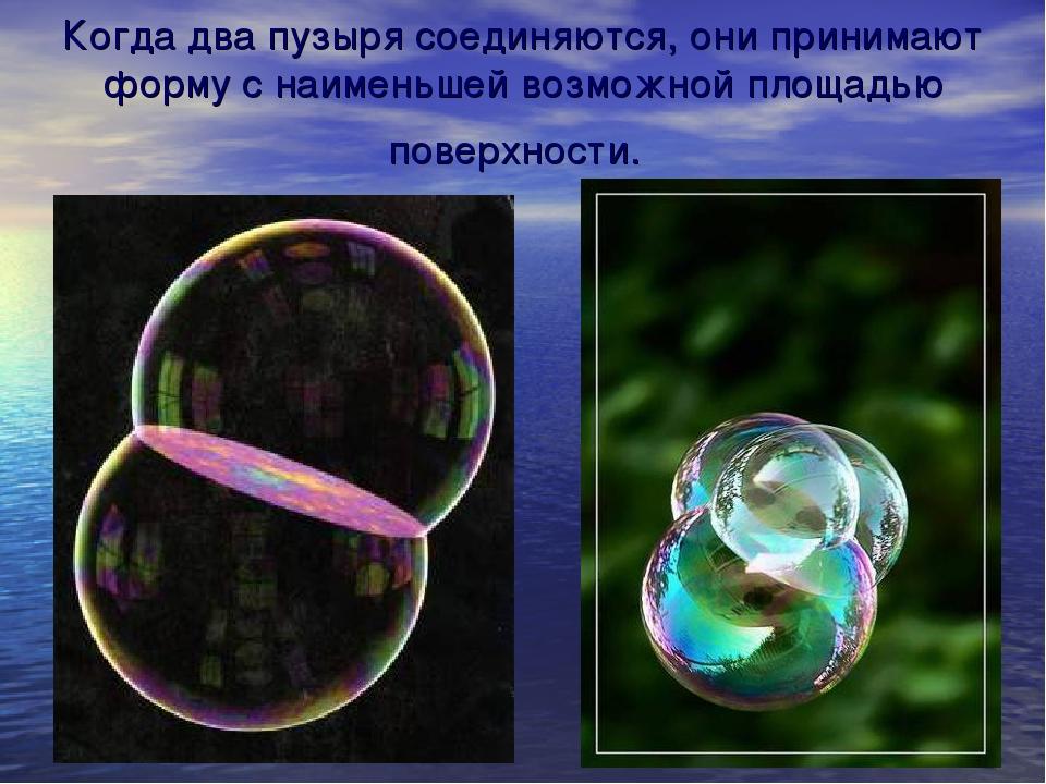 Когда два пузыря соединяются, они принимают форму с наименьшей возможной площ...