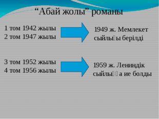 """1 том 1942 жылы 2 том 1947 жылы 3 том 1952 жылы 4 том 1956 жылы """"Абай жолы"""" р"""