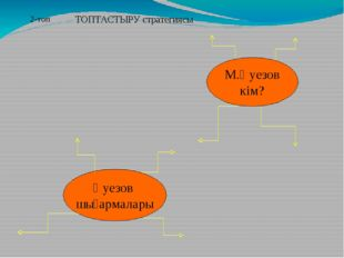 М.Әуезов кім? Әуезов шығармалары 2-топ ТОПТАСТЫРУ стратегиясы