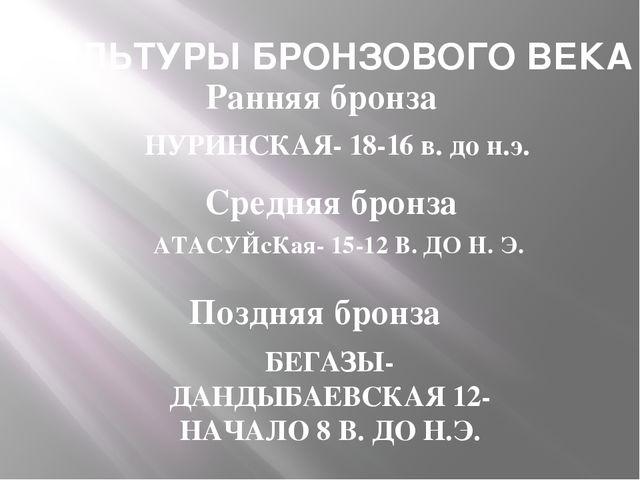 КУЛЬТУРЫ БРОНЗОВОГО ВЕКА Ранняя бронза НУРИНСКАЯ- 18-16 в. до н.э. Средняя бр...