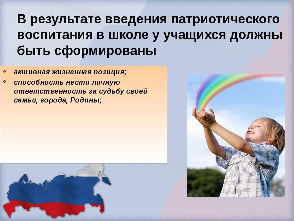 В результате введения патриотического воспитания в школе у учащихся должны бы...