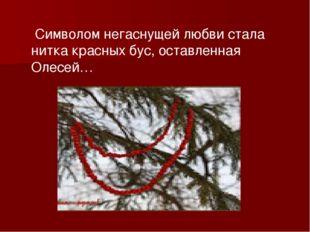 Символом негаснущей любви стала нитка красных бус, оставленная Олесей…