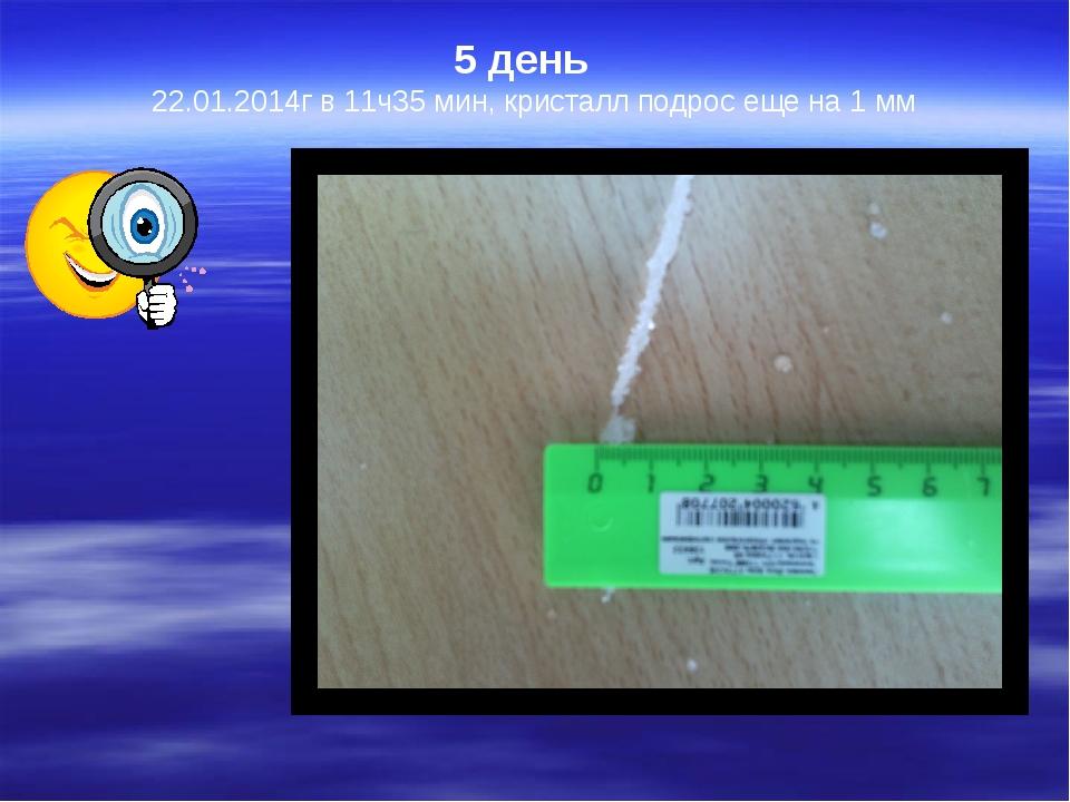 5 день   22.01.2014г в 11ч35 мин, кристалл подрос еще на 1 мм