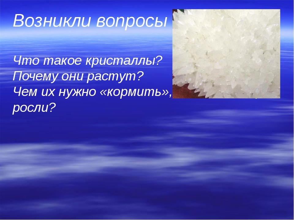 Возникли вопросы  Что такое кристаллы?   Почему они растут?  Чем их нужно «ко...