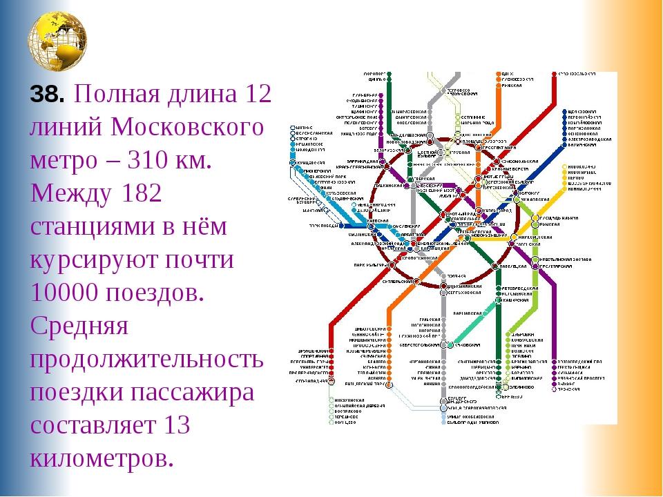 38. Полная длина 12 линий Московского метро – 310 км. Между 182 станциями в н...