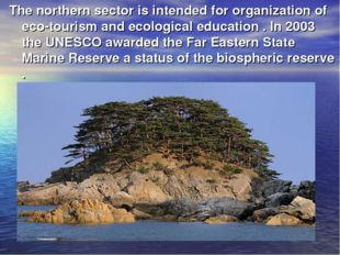 The northern sector is intended for organization of eco-tourism and ecologica