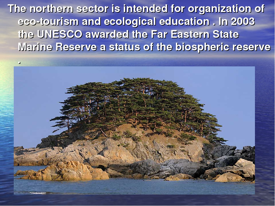 The northern sector is intended for organization of eco-tourism and ecologica...