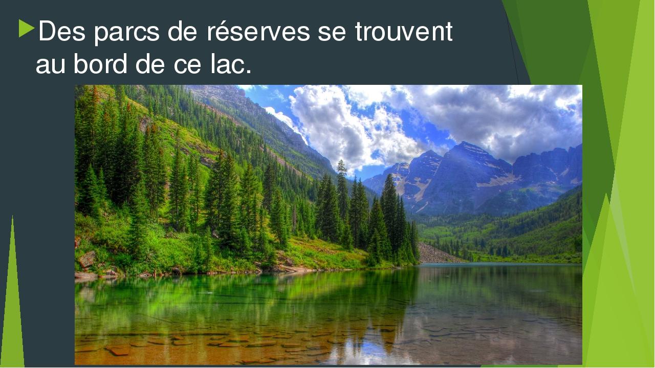 Des parcs de réserves se trouvent au bord de ce lac.