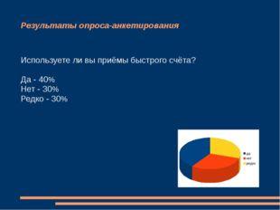 Результаты опроса-анкетирования Используете ли вы приёмы быстрого счёта? Да -