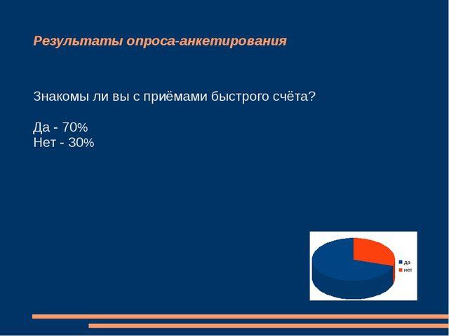 Результаты опроса-анкетирования Знакомы ли вы с приёмами быстрого счёта? Да -...