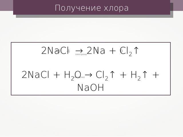 Получение хлора 2NaCl → 2Na + Cl2↑ 2NaCl + H2O → Cl2↑ + H2↑ + NaOH электролиз...