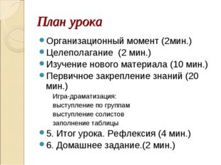 План урока Организационный момент (2мин.) Целеполагание (2 мин.) Изучение нов