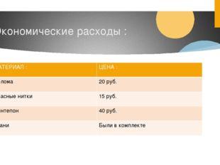 Экономические расходы : МАТЕРИАЛ: ЦЕНА : Солома 20 руб. Красные нитки 15 руб.
