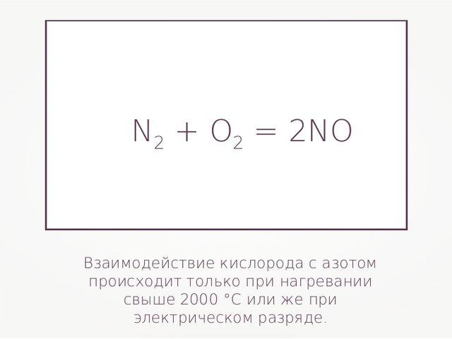 Взаимодействие кислорода с азотом происходит только при нагревании свыше 2000...