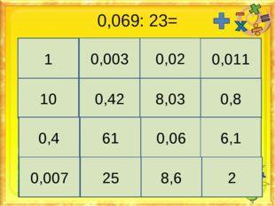0,069: 23= 1 0,003 0,02 0,011 10 0,42 8,03 0,8 0,4 61 0,06 6,1 0,007 25 8,6 2