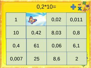 0,2*10= 1 0,02 0,011 10 0,42 8,03 0,8 0,4 61 0,06 6,1 0,007 25 8,6 2