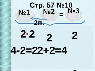 Стр. 57 №10 №1 №2 №3 2п. = Х Х 2 Х 2Х+Х+Х=8 4Х=8 Х=8:4 Х=2 8п. 2 2 2 2 4-2=2