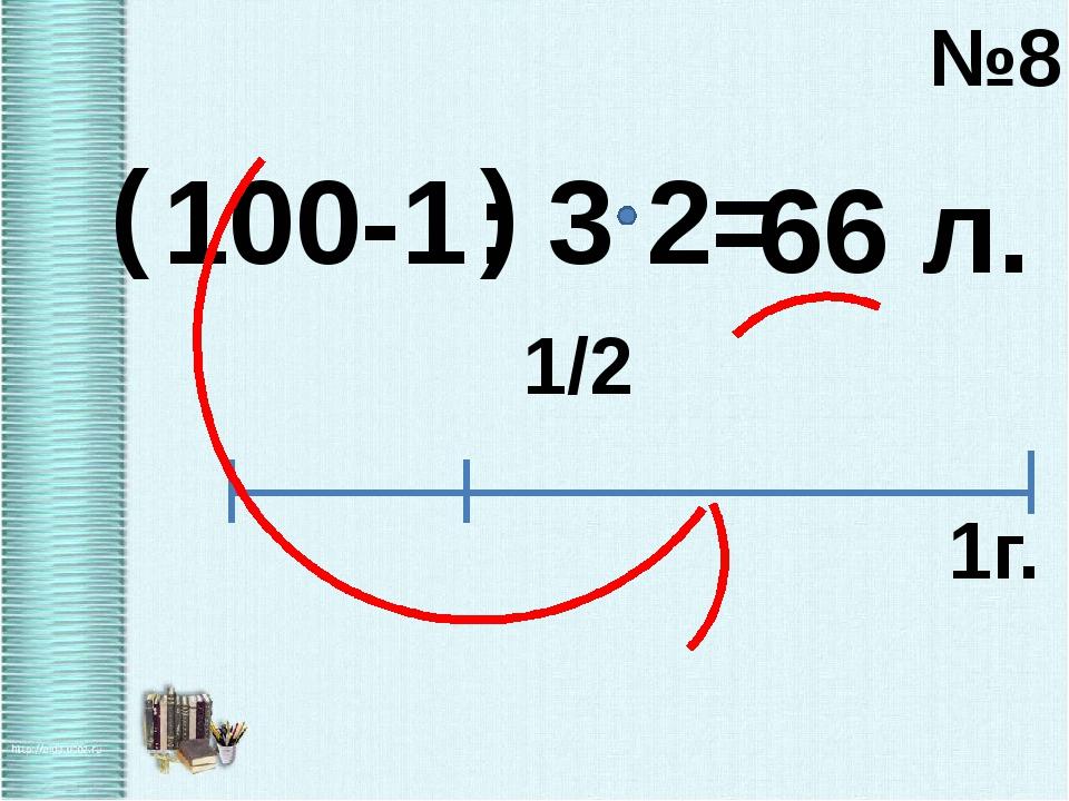 100-1 ( ) : 3 №8 1/2 1г. 2= 66 л.