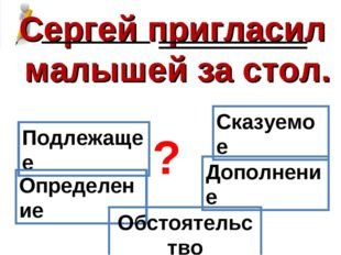 Сергей пригласил малышей за стол. Подлежащее Сказуемое Определение Дополнение