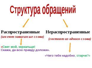 Распространенные (имеют зависимые слова) Нераспространенные (состоят из одног