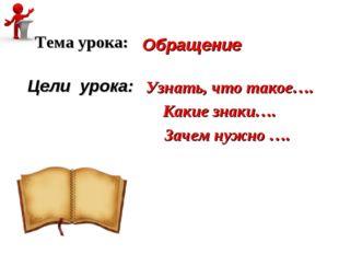Обращение Тема урока: Цели урока: Узнать, что такое…. Какие знаки…. Зачем ну