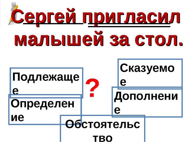 Сергей пригласил малышей за стол. Подлежащее Сказуемое Определение Дополнение...