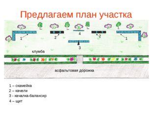 Предлагаем план участка 1 – скамейка 2 – качели 3 - качалка-балансир 4 – щит