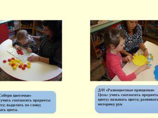 Д/И «Собери цветочки» Цель: учить соотносить предметы по цвету; выделять по с