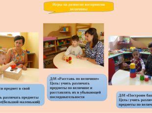 Д/И «Опусти предмет в свой домик» Цель: учить различать предметы по величине(
