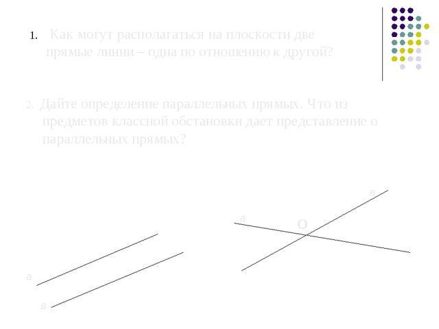Как могут располагаться на плоскости две прямые линии – одна по отношению к...