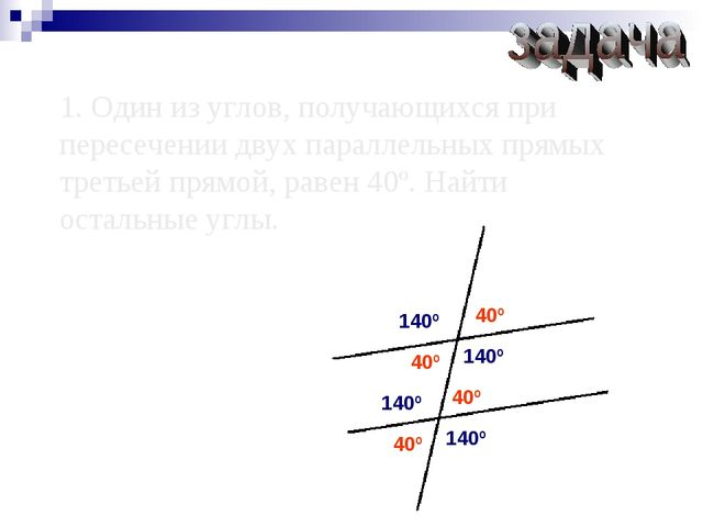 1. Один из углов, получающихся при пересечении двух параллельных прямых треть...
