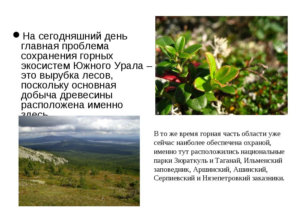 На сегодняшний день главная проблема сохранения горных экосистем Южного Урала...