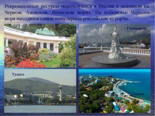 Рекреационные ресурсы используются в России в основном на Черном, Азовском,