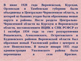 В июне 1928 года Воронежская, Курская, Орловская и Тамбовская губернии были о