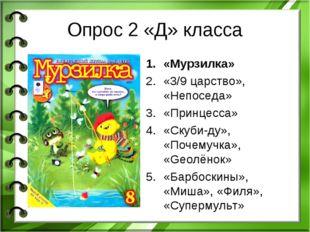 Опрос 2 «Д» класса «Мурзилка» «3/9 царство», «Непоседа» «Принцесса» «Скуби-ду