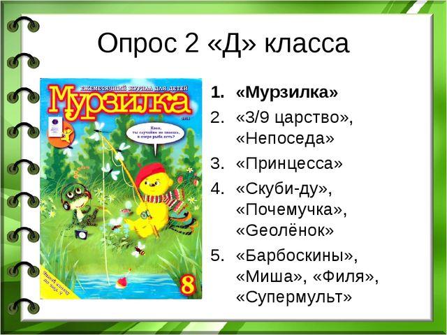Опрос 2 «Д» класса «Мурзилка» «3/9 царство», «Непоседа» «Принцесса» «Скуби-ду...