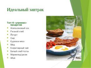 Идеальный завтрак Топ-10 «утренних» продуктов: Апельсиновый сок Ржаной хлеб Й